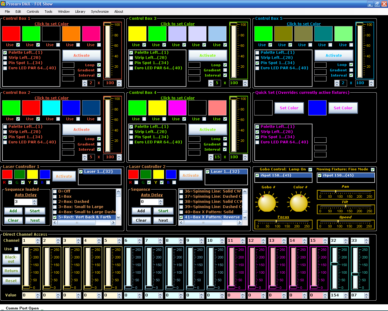 Prosurv DMX - PC Software for lighting control